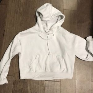 White Cropped Hoodie